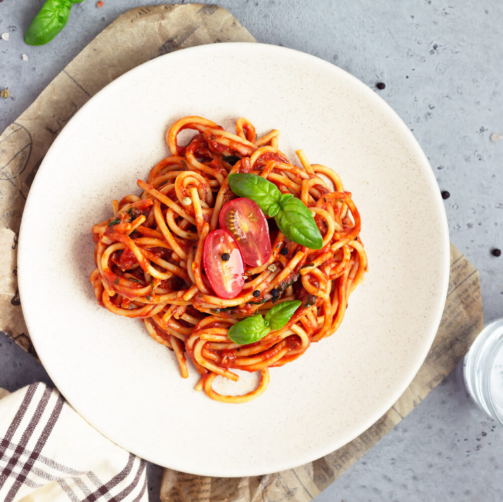 Chefs Basket Pasta Sauce served in plate with pasta