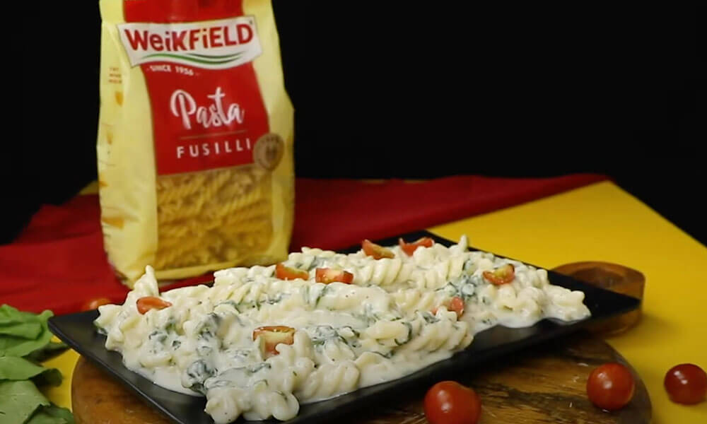 Weikfield Fusilli Pasta served in plate